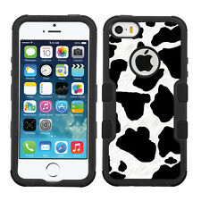3-Layer Hybrid Case (Blk/Blk/Grip) for Apple iPhone 5 5s - Cow Skin Print