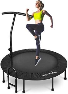 MOVTOTOP Foldable Mini Trampoline Rebounder, Indoor Fitness Handrail 40 Inch