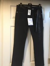 CHANEL PRE-FALL 16A PARIS-ROME NEW TAGS CLASSIC BLACK JEANS BOW CC buttons FR40