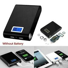 12000mah DIY Power Bank Battery Charger Case Dual USB for Smart Phone - Black TR