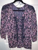LUCKY BRAND Women's Purple Boho Popover Blouse Top Shirt Romantic Small
