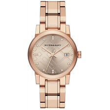 Authentic Burberry The City Rose Gold Diamond Ladies Watch BU9126