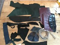 18 REAL LEATHER OFFCUTS/RECLAIMED TRIMS GREAT FOR CRAFTS & CLOTHING