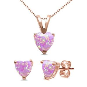 Pink Fire Opal Heart Stud Cast Earring Pendant Necklace Rose Gold Sterling Set