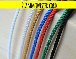 2.2 mm twisted cord rope braid string craft jewellery soutache pipping 5m - 250m