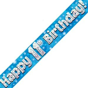 Blue Happy 11th Birthday Foil Party Banner Decoration Stars Holographic Age 11