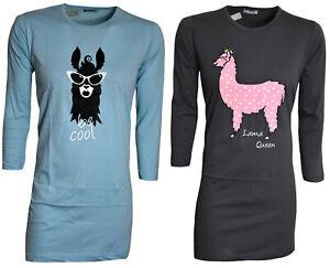 Damen Nachthemd,Nachtwäsche,Sleepshirt,Rundhals,mit Motivdruck, Gr. S-XL (36-50)