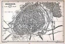 Groningen 1885 orig. plattegrond + eng. reisgids (2 p.) Kruis Singel Ubbo Emmius