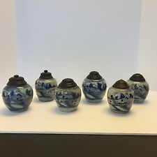 Antique Chinese Group of 6 Blue and white Ginger Jars Very Old