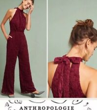 1654a72623be NEW Anthropologie Velvety Lace Wide Leg Halter Jumpsuit Size 12 Tie Neck