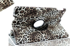 "For New iPad 2017 9.7"" Rotating 360 Swivel Case Stand (iPad AIR 5) Leopard Brown"