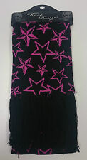 Rock Daddy/ Black with pink stars scarf/ Ladies scarf - 570