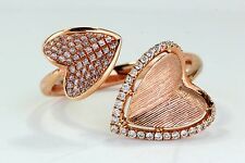 Pink Diamond Hearts Custom Designer Ring with 0.29 tcw in 18K Rose Gold