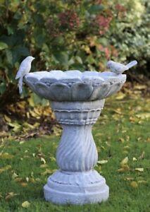 Slate Stone Pedestal Bird Bath Feeder Outdoor Statue Garden Ornament Decor