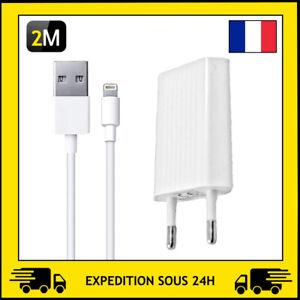 CHARGEUR PRISE SECTEUR / CABLE USB 2M POUR APPLE IPHONE SE/5/6/7/8/X/XR/11/12PRO