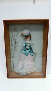 VINTAGE FRAMED PERIOD COSTUME DOLL SIGNED FAIRCHILD 3D RELIEF ART WALL HANGING
