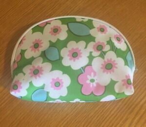 New Clinique cosmetic bag pouch purse - pink/white/green - plastic lined w/ zip