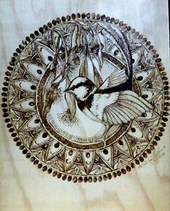 © ART fairy wren Bird Nature Wildlife mandala wood burning pyrograph by Di