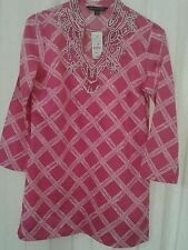 Women Hot Pink beaded trim Cotton V-Neck BROOKS BROTHERS Tunic Blouse Sz XXS NWT