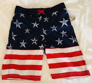 USA American Flag Patriotic Swim Suit Red Navy Stars Trunks Shorts Boys L 12 14