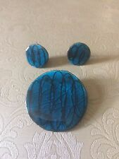 Vintage Modernist Alice Lund Glass Ceramic Pin Brooch Denmark Blue Earrings set