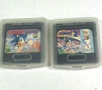 Sonic the Hedgehog 1 & 2 With Tails Sega Game Gear 1991 Cartridge Tested Works