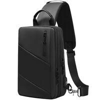 Men's Sling Backpack Oxford cloth Waterproof Crossbody Bag USB Port Sport Bags