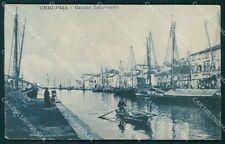 Venezia Chioggia Canale Lombardo Barche RIFILATA STRAPPINO cartolina QT4018
