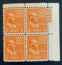 US Stamps, Scott #803 1/2c Plate block VF/XF M/NH. 1938 Presidential Issue