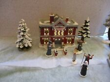 CLEVELAND ELEMENTARY SCHOOL, DEPT 56 A CHRISTMAS STORY, NUNS, PEOPLE, WALL,TREES