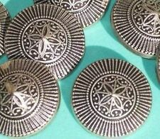 "Set 9 INTRICATE Antiqued Silver MeTaL FLOWER Vintage New Buttons 1 & 1/8"" LARGE"