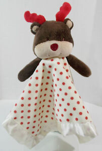"CoCaLo Reindeer Lovey Security Blanket 14"" Cream Red Polka Dot"