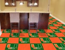 NCAA Miami Hurricanes Carpet tiles Mancave must have Fanmats USA QUICK SHIP