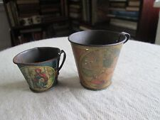 2 antique TIN PITCHERS CUPS Girl on Swing  Little Red Riding Hood