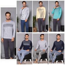 Herren Pyjama Schlafanzug Baumwolle Lang 2-Teiler Set  C-77