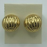 Vintage Monet Gold Tone Round Patterned Clip On Earrings