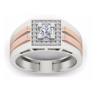 1Ct White Round Cut Diamond Men's Wedding Two Tone Ring In 925 Sterling Silver