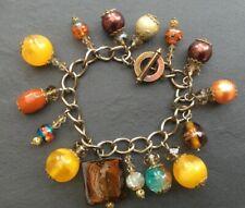 Chunky brown/orange/yellow beads charm style bracelet BR06