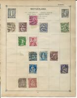 Switzerland Stamps on an Old Stamp Album page 2 sides Helvetia