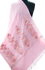 Pink Indian Wool Shawl Ari Embroidered With Dark Pink & Metallic Silver Pashmina