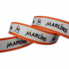 """5 Yards 7/8"""" Miami Marlins Ribbon Baseball Grosgrain Crafts Bows Scrapbooking"""