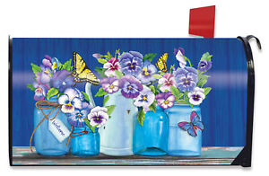 Butterflies and Pansies Spring Mailbox Cover Floral Standard Briarwood Lane