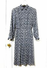 Vtg Navy White Floral Print L/S Pleated Skirt Dress Button Front Women's Sz S