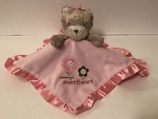 Carter's Mommy's Sweetheart Pink Security Blanket Satin Trim Bear Lovey Flowers