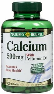 Nature's Bounty Calcium 500 mg With Vitamin D3 Mineral Supplement - 300 Tablets