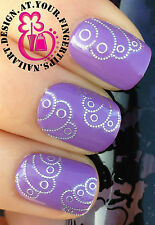 NAIL ART Avvolgere ACQUA trasferimento Decalcomanie shiney ARGENTO DOT PUFFY Swirl WING # 111