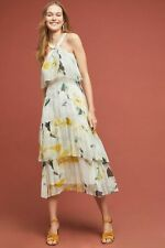 Anthropologie Chiffon Floral Tiered Garden Party Maxi Dress size 8