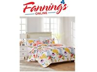New Opened Greenland Home Watercolor Dream Quilt Set, 3-Piece King, White