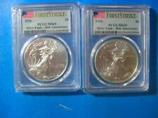 2016 PCGS MS 69 SILVER EAGLE FIRST STRIKE LOT OF 2 COINS 30TH ANNIVERSARY!
