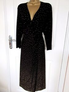 """C.C Petite Size UK-16 Unlined Shift Dress with mock wrap Black spotted BUST 40"""""""